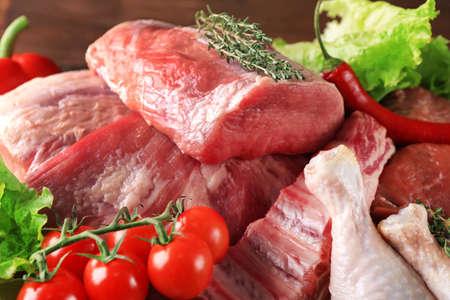 Morceaux de viande fraîche différente, gros plan Banque d'images - 98201152