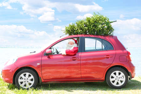 Authentic Santa Claus looking out of car with Christmas tree on its top
