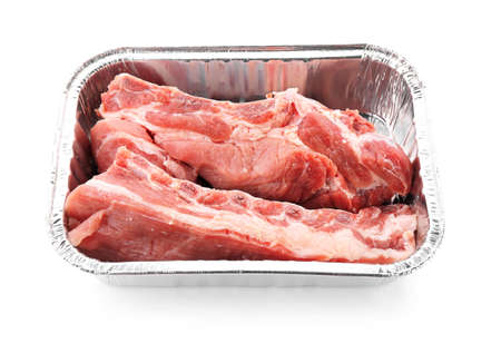 Container with fresh meat, isolated on white