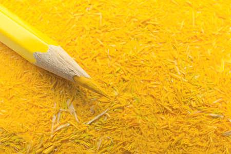 Yellow graphite pencil and shavings, closeup