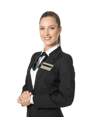 Female hotel receptionist in uniform on white background