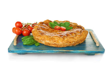 Tasty pie with spinach on white background Stock Photo