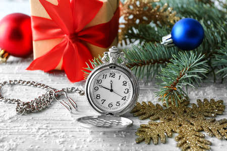 stock photo watch and decorations on table christmas countdown concept