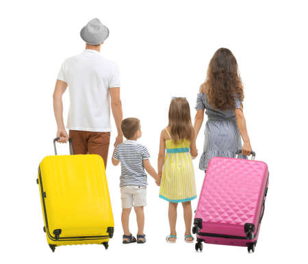Family with suitcases, isolated on white
