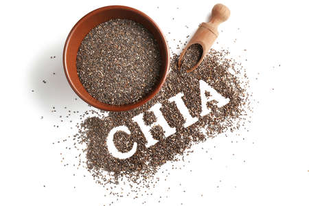 Composition with chia seeds on white background