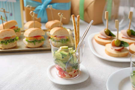 Delicious appetizer for baby shower on plate