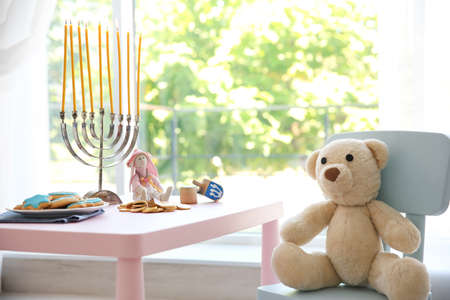 Beautiful baby room decorated for Hanukkah