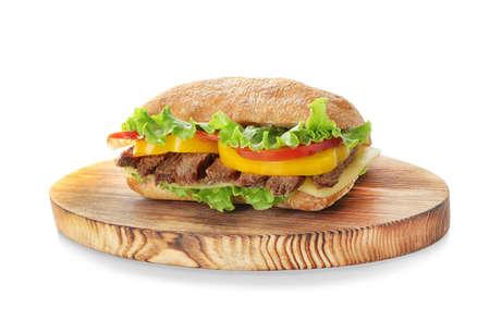Steak sandwich on white background Stock Photo