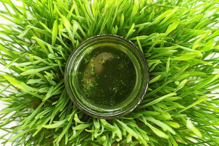Shot of drink in wheat grass, closeup Stok Fotoğraf