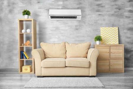 Living Room Interior With Comfortable Sofa And Air Conditioner Stock Photo    98674821