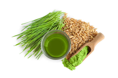 Shot of wheat grass drink on white background Stock Photo