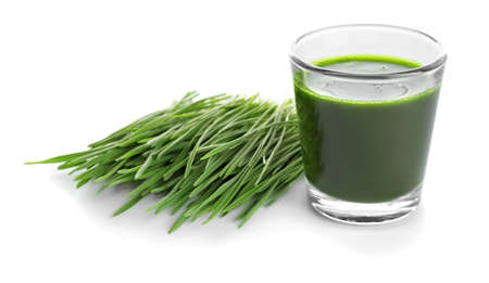 Shot of wheat grass drink on white background