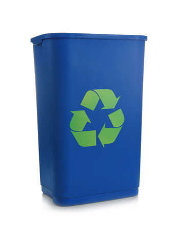 Blue rubbish bin with   recycling on white background� Stock fotó - 98681637