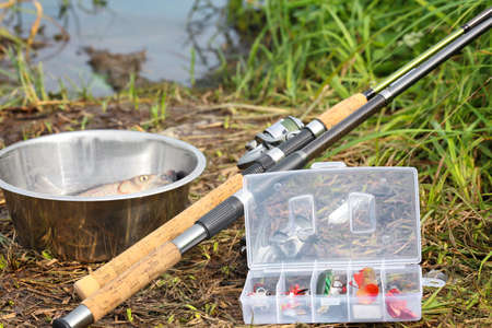 Fresh fish in bowl and fishing equipment on beach Stock Photo