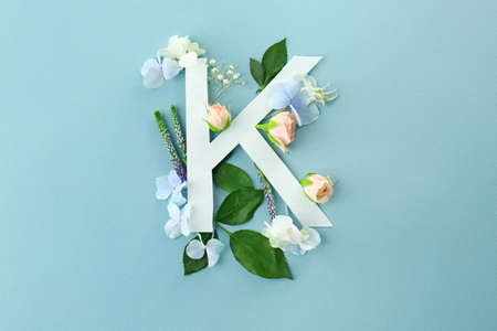 Composition with letter K and beautiful flowers on color background