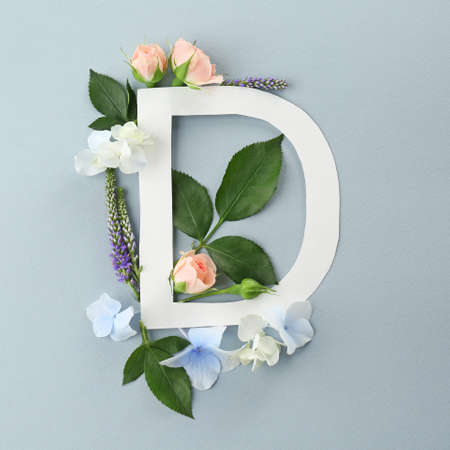 Composition with letter D and beautiful flowers on color background Stock Photo