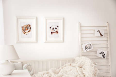 Baby bedroom decorated with pictures of animals Stock Photo - 98792827 & Baby bedroom decorated with pictures of animals