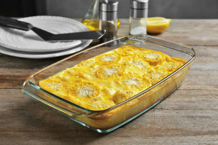 Tasty casserole with corn in baking dish