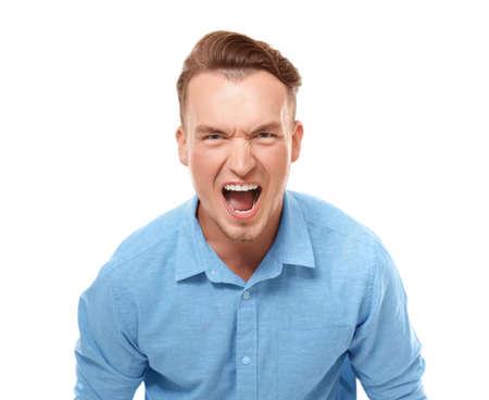 Portrait of emotional man on white background