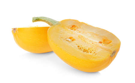 Cut spaghetti squash on white background
