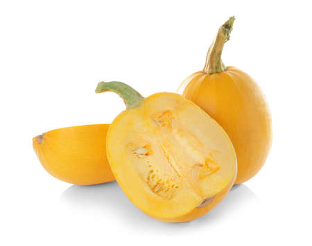 Ripe spaghetti squashes on white background
