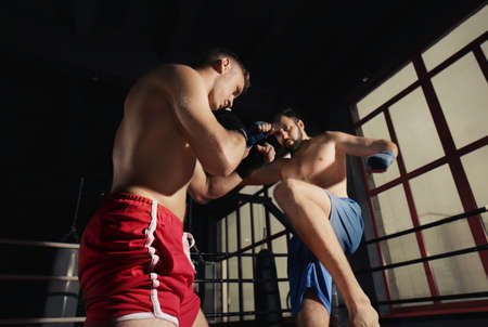 Young professional kickboxers training in ring Stock Photo