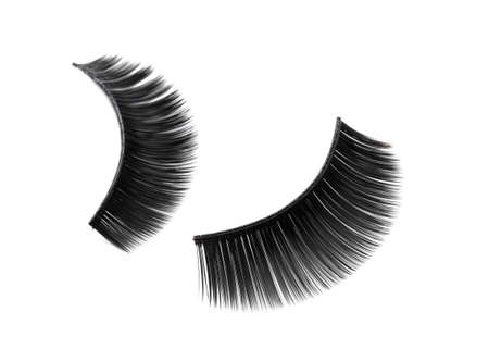 False eyelashes on white background Stock Photo