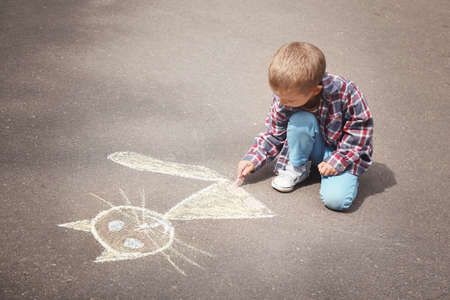 Little boy drawing cat with chalk on asphalt