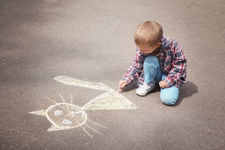 Little boy drawing cat with chalk on asphalt