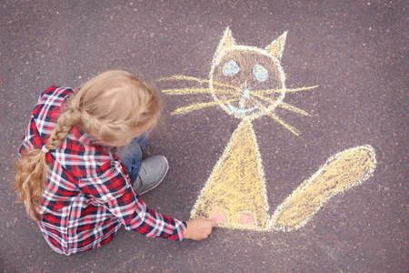 Little girl drawing cat with chalk on asphalt