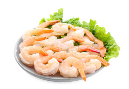 Plate with delicious shrimps on white background Stock Photo