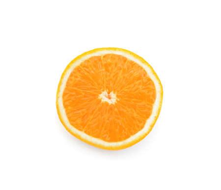 Yummy fresh orange slice on white background