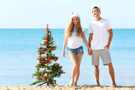 Young couple and Christmas tree on beach
