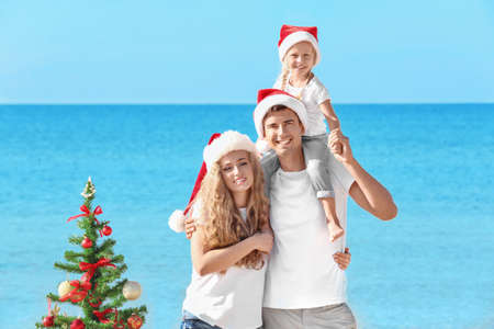 Happy family and Christmas tree on beach Banque d'images