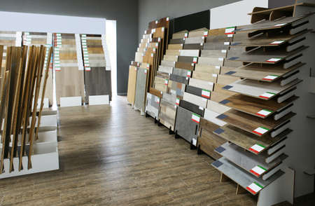 Assortment of flooring samples in shop