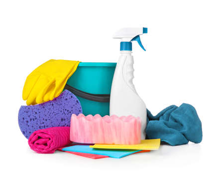 Car cleaning supplies on white background
