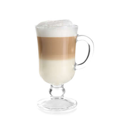 Glass with latte macchiato on white background