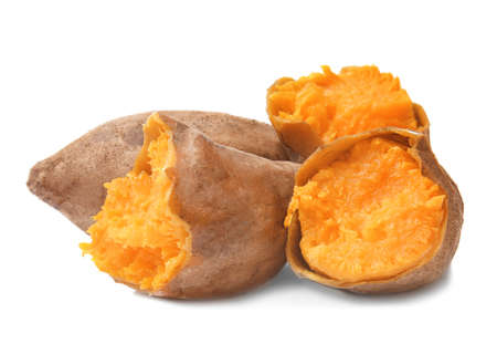 Baked sweet potato on white background