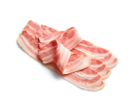 Rashers of bacon on white background