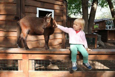 Schattig klein meisje met grappige geit zittend op een houten hek in de kinderboerderij Stockfoto - 99083639