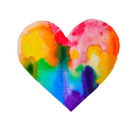 Watercolor rainbow heart on white paper Stock Photo