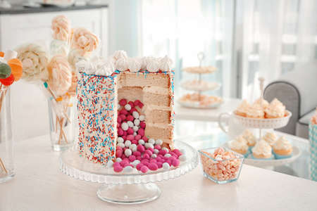 Tasty treats served for baby shower party on table