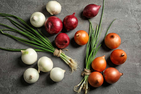 Different fresh onions on grey background