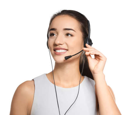 Female consulting manager with headset on white background