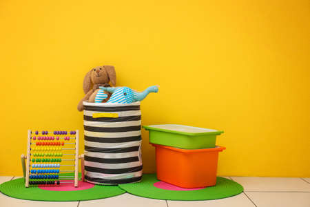 Childrens room with bright color wall, interior details