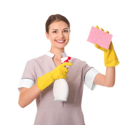 Woman with bottle of detergent and sponge on white background