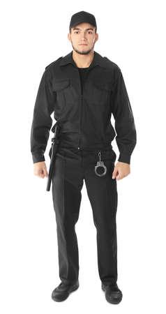 Guardia de seguridad masculino sobre fondo blanco.