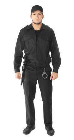 Male security guard on white background Stock Photo - 100307306