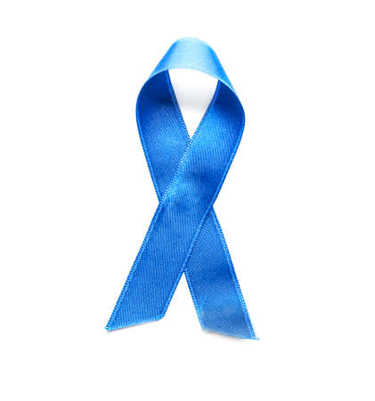 Blue ribbon on white background. Cancer awareness concept