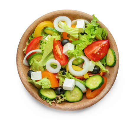 Plate with fresh tasty salad on white background